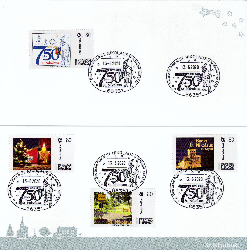 Nikolaus-Klappkarte mit Kuvert - 750 Jahre St. Nikolaus - mit 4 passenden Briefmarken Individuell und 5 echten Nikolaus Sonderstempel