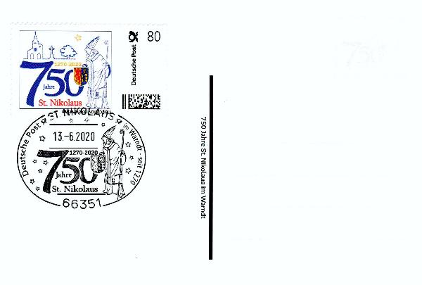 Postkarte - 750 Jahre St. Nikolaus mit passender Briefmarke Individuell und echtem Nikolaus-Sonderstempel