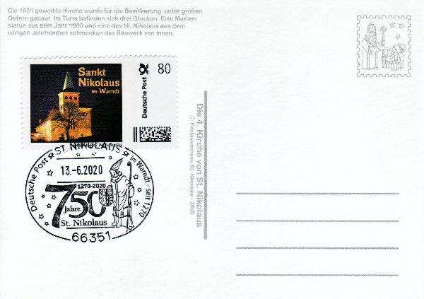 Postkarte - Dorfkirche St. Nikolaus mit passender Briefmarke Individuell und echtem Nikolaus-Sonderstempel