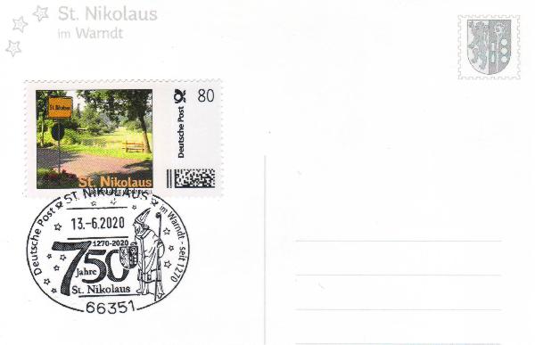 Postkarte - St. Nikolaus 2020 mit passender Briefmarke Individuell und echtem Nikolaus-Sonderstempel